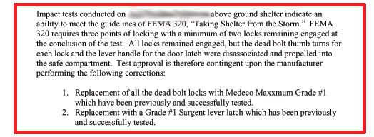 Bad FEMA 320, Poor FEMA 361 test, bad tornado shelter door design.